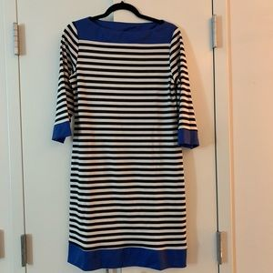 Boat neck, black and white striped dress.